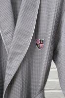 Бамбуковый вафельный халат с вышивкой (10075 насыщенный серый)- Экстра мягкость!