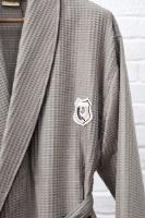 Бамбуковый вафельный халат с вышивкой (10075 капучино)- Экстра мягкость!