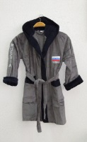 Детский - подростковый махровый халат RUSSIA SPORT (серый с синим)