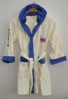 Детский - подростковый махровый халат RUSSIA SPORT (светло-кремовый)