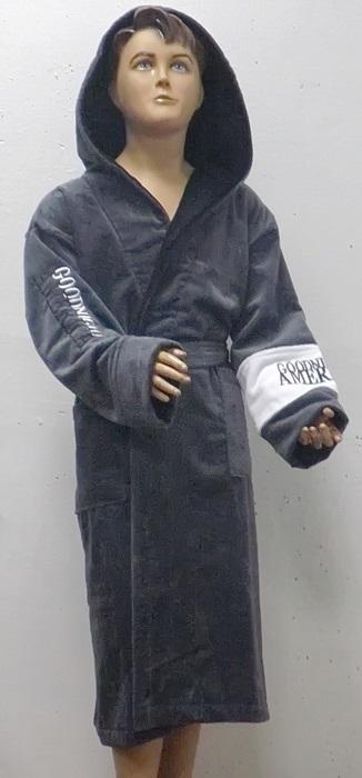 Детский - подростковый махровый халат AMERICA SPORT (серый)