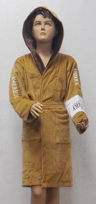 Детский - подростковый махровый халат AMERICA SPORT (бежевый)